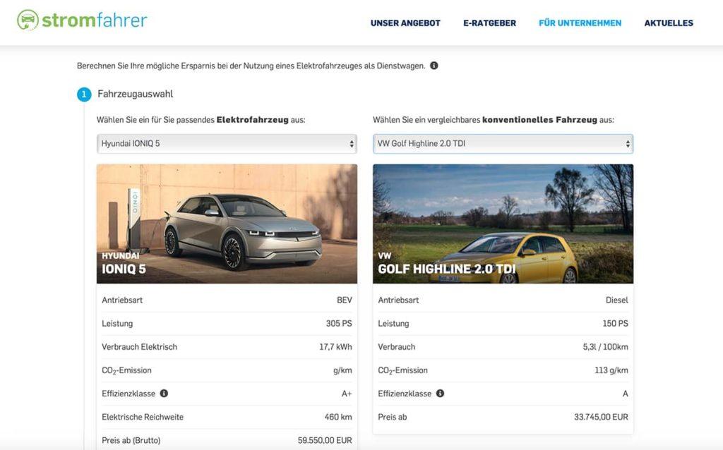 Elektroauto Firmenwagen Rechner online